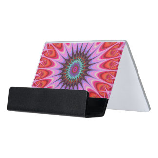 Quadrant mandala desk business card holder