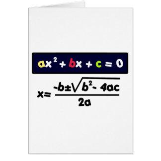 Quadratic equation card