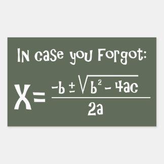 Quadratic Formula Reminder Rectangular Sticker