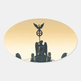 Quadriga Brandenburg Gate 001, Berlin Oval Sticker
