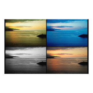 Quadriptych seascape at sunset customized stationery