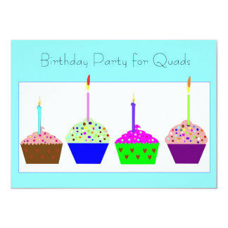 Quadruplets Cupcake Birthday Invitation
