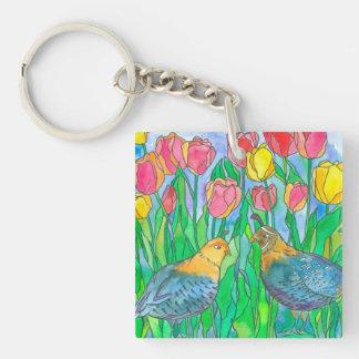 Quail Birds Watercolor Painting Key Ring