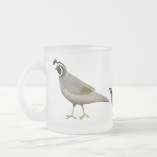 Quail Family Frosted Glass Mug