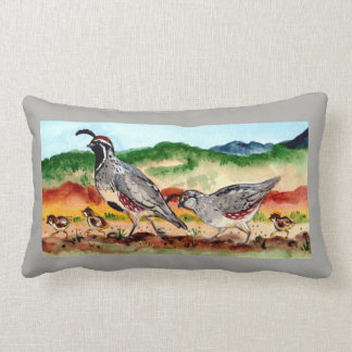 Quail Family with Babies Peeps Gray, Accent Pillow