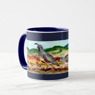 Quail family with Peeps Navy Blue Mug Southwestern