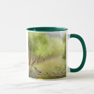 Quail in a Meadow Ringer Mug
