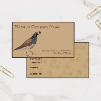 Quail on  Gray Gamboge with Leaves Business Card
