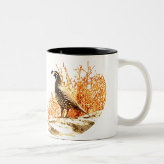 QUAIL ON ROCK Two-Tone COFFEE MUG
