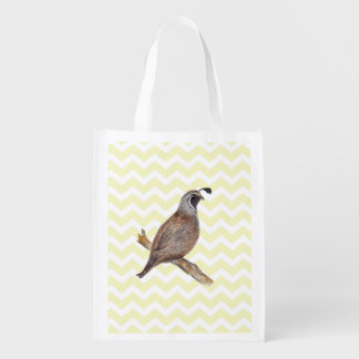 Quail watercolor painting on chevron pattern