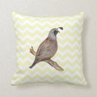 Quail watercolor painting on chevron pattern cushion