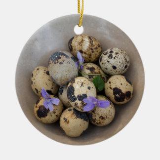 Quails eggs & flowers 7533 ceramic ornament