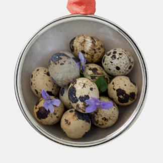 Quails eggs & flowers 7533 metal ornament