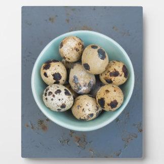 Quails eggs in a green bowl plaque