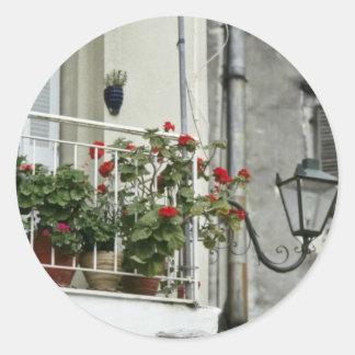 Quaint Balcony In Old Town Corfu flowers Classic Round Sticker