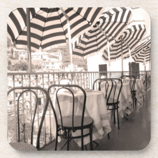 Quaint restaurant balcony, Italy Beverage Coaster