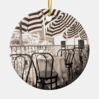 Quaint restaurant balcony, Italy Ceramic Ornament