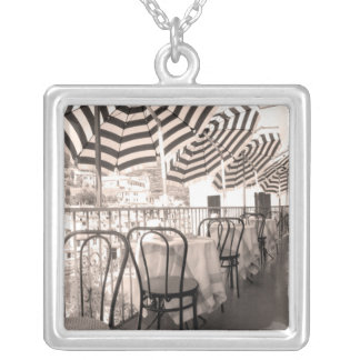 Quaint restaurant balcony, Italy Silver Plated Necklace