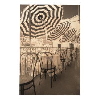 Quaint restaurant balcony, Italy Wood Wall Decor