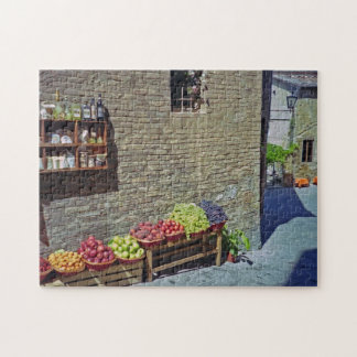 Quaint Street and Fruit Store Siena Italy Puzzle
