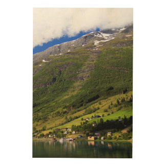 Quaint Village by the fjord, Norway Wood Prints