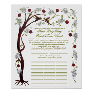 Quaker Wedding Tree of Life (60 guests) portrait Poster