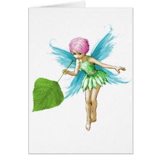 Quaking Aspen Tree Fairy Holding Leaf Card