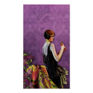 QUALIDA, 1920s FASHION in GOLD and LILAC Poster