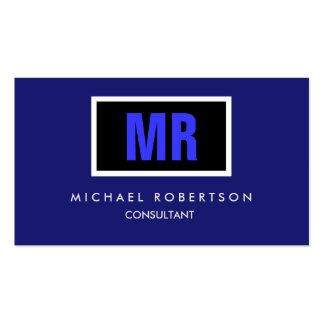 Quality Black Midnight Blue Monogram Unique Pack Of Standard Business Cards