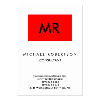 Quality Red Stripe White Black Monogram Unique Pack Of Chubby Business Cards