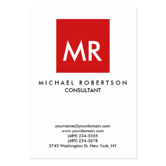 Quality Red White Monogram Unique Pack Of Chubby Business Cards