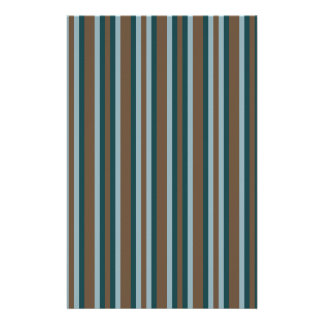 Quarry Teal Mod Alternating Stripes Stationery
