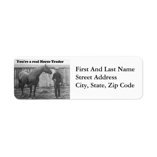 Quarter Horse and Horse Trader Vintage Photo Return Address Label