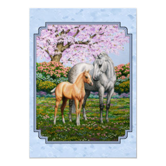 Quarter Horse Mare and Foal Blue 13 Cm X 18 Cm Invitation Card
