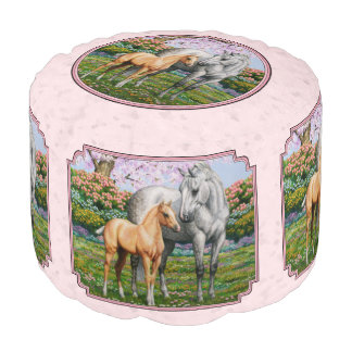 Quarter Horse Mare and Foal Pink Pouf