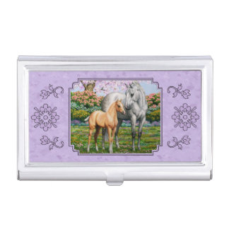 Quarter Horse Mare and Foal Purple Business Card Cases