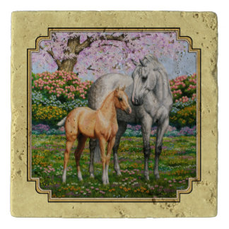 Quarter Horse Mare and Foal Yellow Trivet