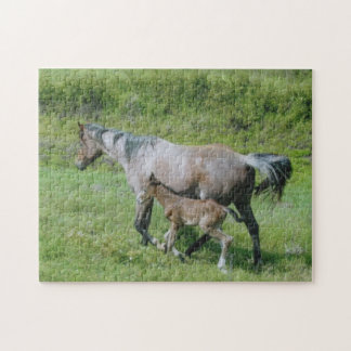 Quarter Horse Mare with Foal at Side Jigsaw Puzzle
