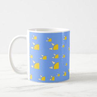 Quarter sun pale blue yellow pattern basic white mug
