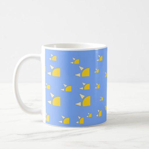 Quarter sun pale blue yellow pattern coffee mug