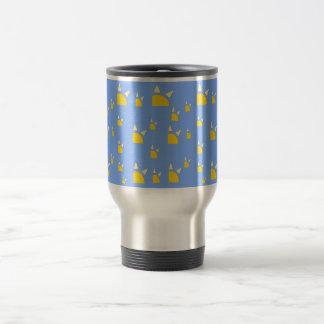 Quarter sun pale blue yellow pattern stainless steel travel mug