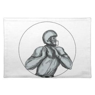 Quarterback QB Throwing Football Tattoo Placemat