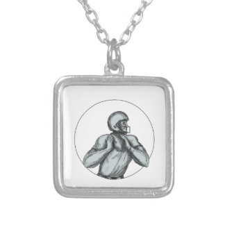 Quarterback QB Throwing Football Tattoo Silver Plated Necklace