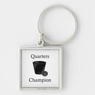 Quarters Champion Silver-Colored Square Key Ring