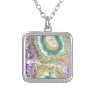 Quartz Candy Crystals Silver Plated Necklace