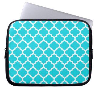 Quatrefoil Aqua Laptop Sleeve