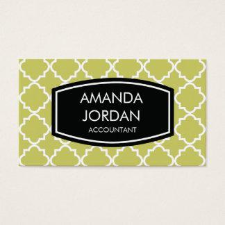 Quatrefoil Background Business Card - olive