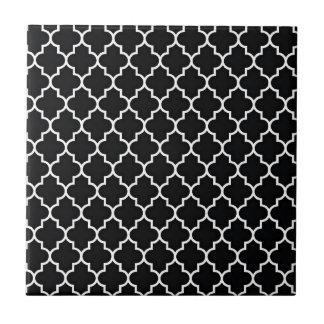 Quatrefoil Black and White Tile