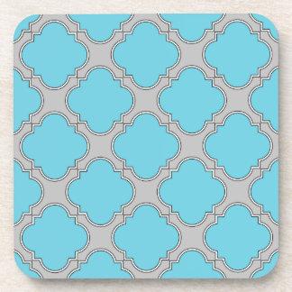 Quatrefoil blue and gray coaster