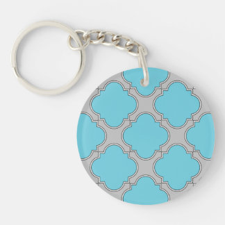 Quatrefoil blue and gray key ring